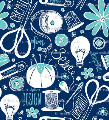 Design Sew Create - Sewing Typography Navy Aqua White