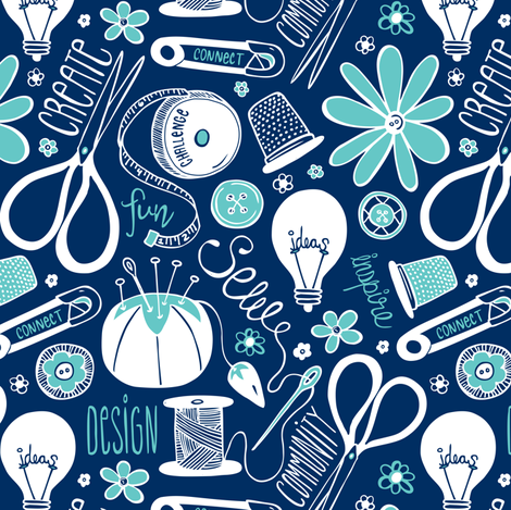 Design Sew Create - Sewing Typography Navy Aqua White fabric by heatherdutton on Spoonflower - custom fabric