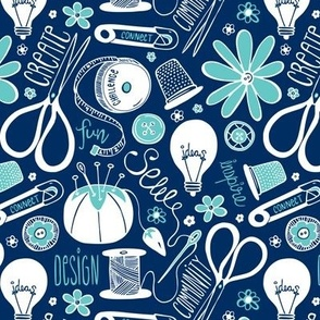 Design Sew Create Sewing Typography Navy Aqua White