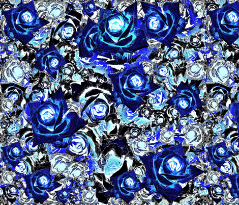 Roses - blue fabric by maryartdecor&design on Spoonflower - custom fabric