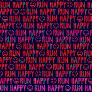 run happy faces - reds and teal on navy