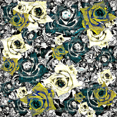 Roses - mint, yellow & blue