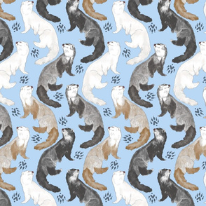 Cascading Ferrets - medium blue