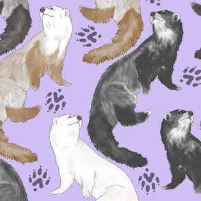 Cascading Ferrets - large purple