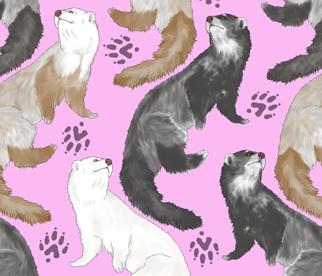 Cascading Ferrets - large pink fabric by rusticcorgi on Spoonflower - custom fabric