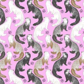 Cascading Ferrets - medium pink