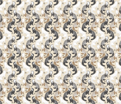 Cascading Ferrets - small tan fabric by rusticcorgi on Spoonflower - custom fabric