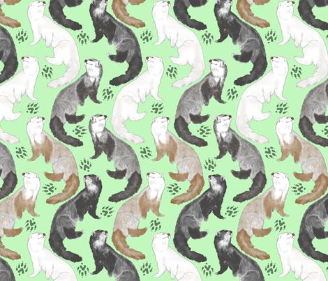 Cascading Ferrets - medium green fabric by rusticcorgi on Spoonflower - custom fabric