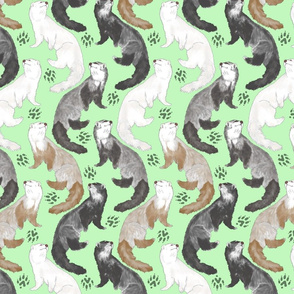 Cascading Ferrets - medium green