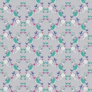 Grey Floral Lattice