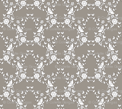 Taupe Floral Lattice