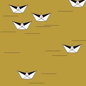 Boats - mustard boats origami geometric