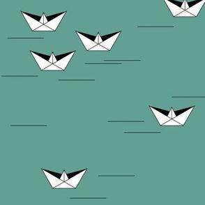 Origami boats - Aqua green