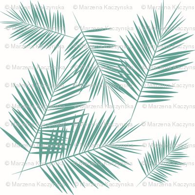 Palm leaf - Aqua green on white Palm leaves tropical summer