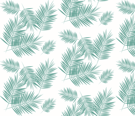 Palm leaf - Aqua green on white Palm leaves tropical summer fabric by sunny_afternoon on Spoonflower - custom fabric