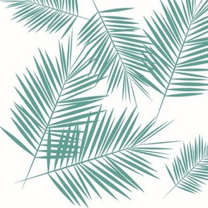 Palm leaf - Aqua green on white Palm leaves tropical summer