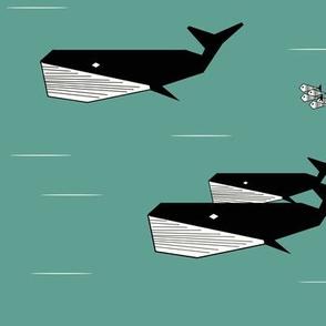 Whales - geometric Aqua green fish