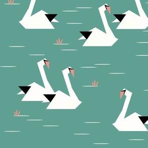 Swans - geometric aqua swans