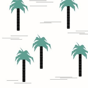 Palm tree - black with aqua green geometric tropical