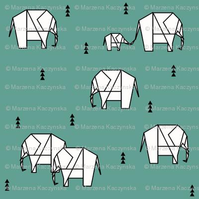 Elephants - geometric aqua green teal