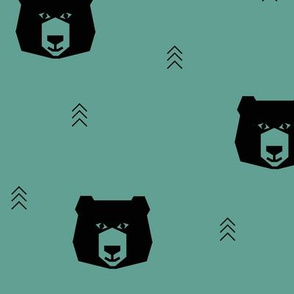 Bear - geometric bear head aqua green || by sunny afternoon