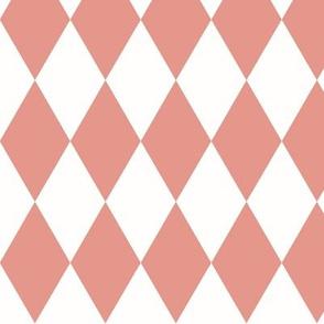 Harlequin diamonds - coral pink