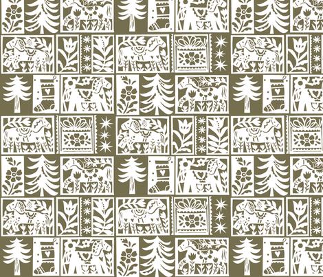 Folk art Christmas 5 fabric by nsta on Spoonflower - custom fabric