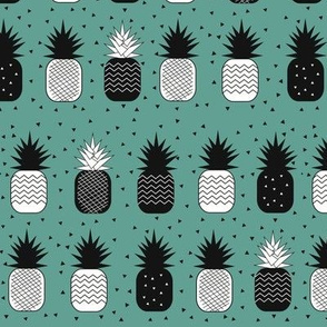 Pineapple - geometric pineapples  monochrome on aqua green tropical fruits