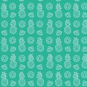 Pineapple Fruit on teal