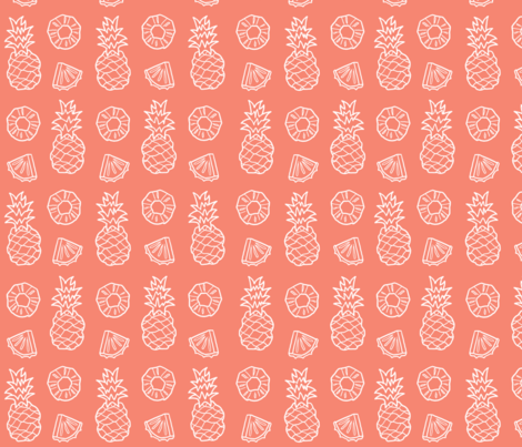 Pinapple Fruit on coral light fabric by melbbaa on Spoonflower - custom fabric