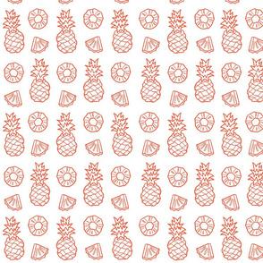 Pineapple Fruit on white