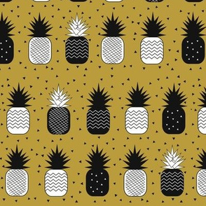 Pineapples - geometric pineapples ananas mustard black and white, tropical fruit
