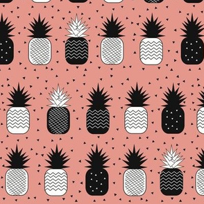 Pineapples - geometric black and white on coral pink, tropical fruit, summer