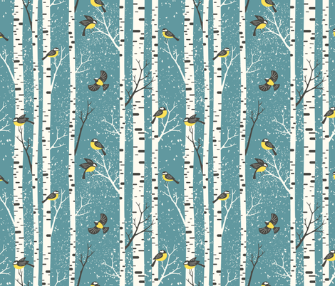 snowy morning - light teal blue fabric by mirabelleprint on Spoonflower - custom fabric