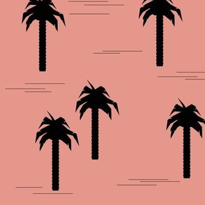 Palm tree - black on coral pink, tropical summer