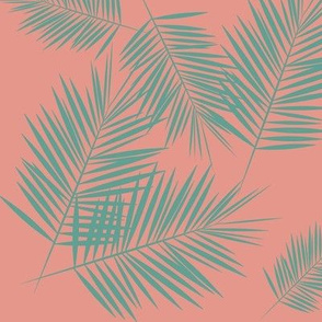 palm leaf - aqua green on coral pink palm leaves tropical