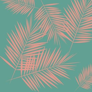 Palm leaf - tropical coral pink on Aqua green summer fun