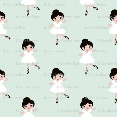 Sweet ballerina ballet dancing girls sweet kids print mint