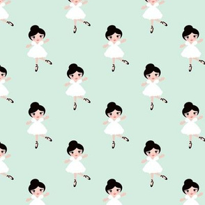 Sweet ballerina ballet dancing girls sweet kids print mint