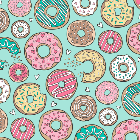 Donuts with Hearts Yellow, Green, Pink and Chocolate on Mint fabric by caja_design on Spoonflower - custom fabric