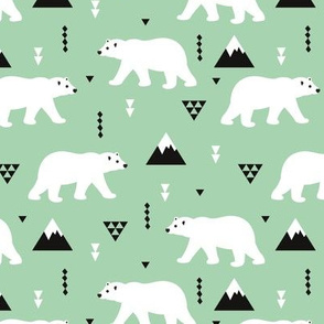 Cute polar bear winter mountain geometric triangle print mint