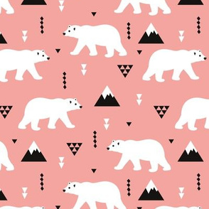 Cute polar bear  winter mountain geometric triangle print blush pink