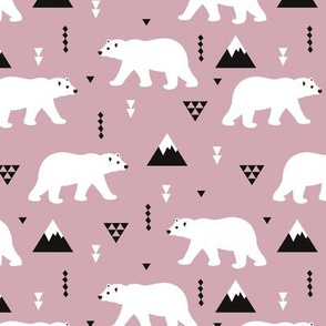 Cute polar bear winter mountain geometric triangle print plum purple
