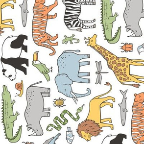Zoo Jungle Animals Doodle with Panda, Giraffe, Lion, Tiger, Elephant, Zebra,  Birds Rotated