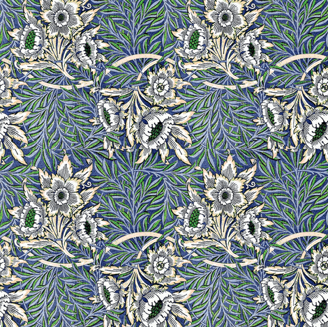 Morris Tulip Willow Blue fabric by amyvail on Spoonflower - custom fabric