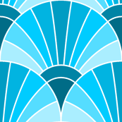 art deco fan scale : turquoise blue