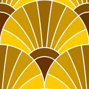 art deco fan scale : caramel egg golden brown