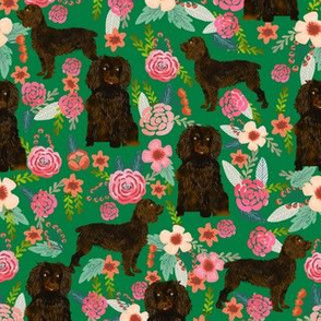 boykin spaniel florals fabric green cute dog design fabric