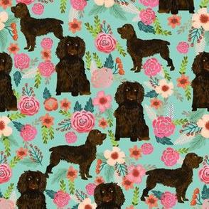 boykin spaniel florals fabric mint