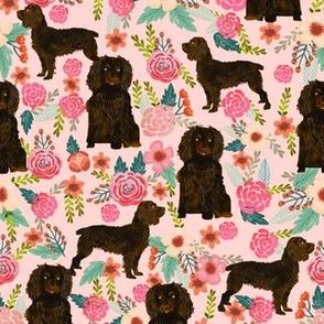boykin spaniel dog fabric pink cute florals design